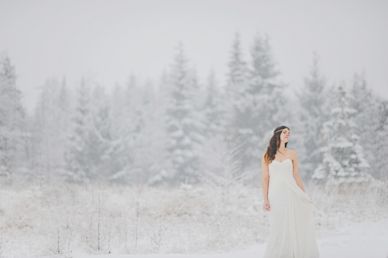 bride in the snow, bride on a snowy day