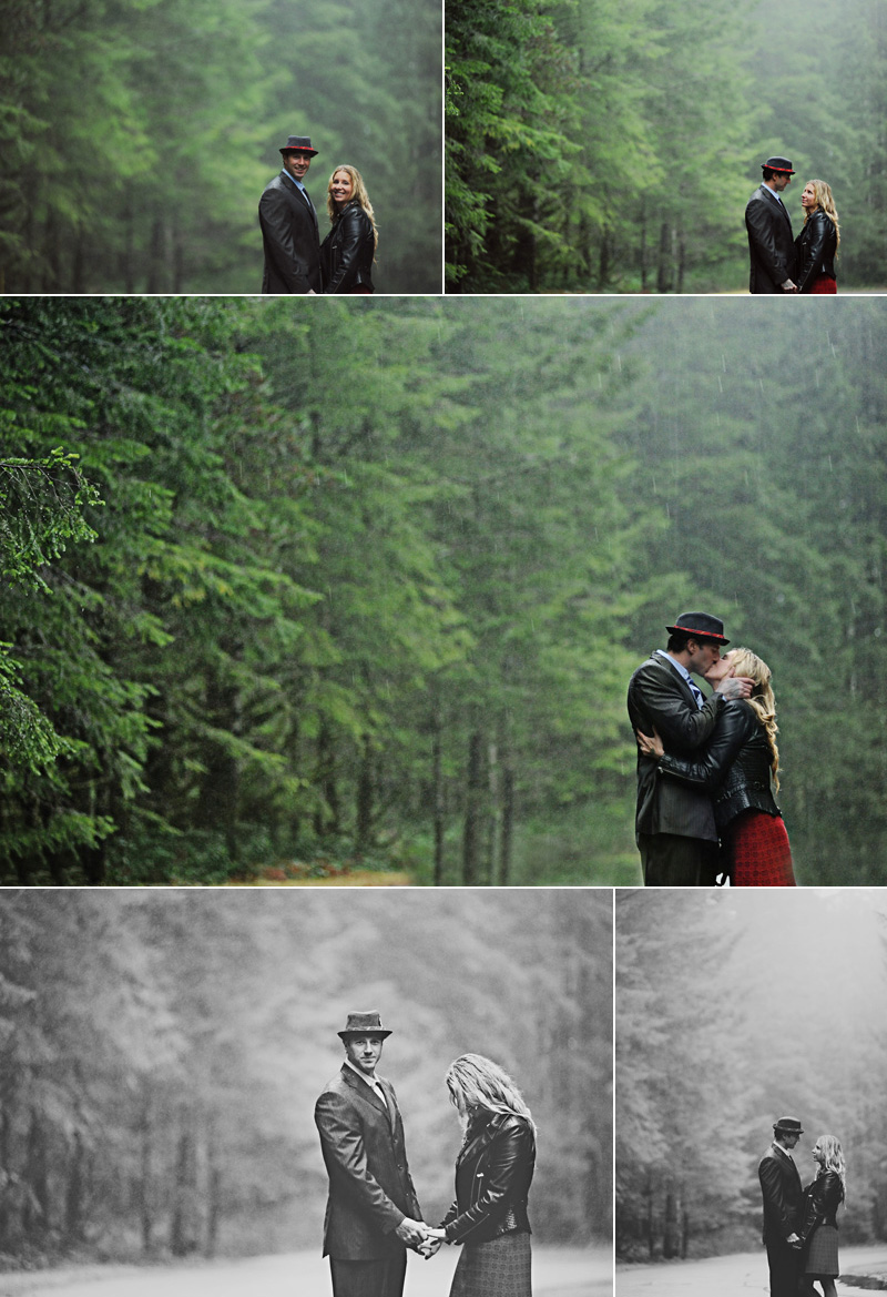 couple kiss in the rain
