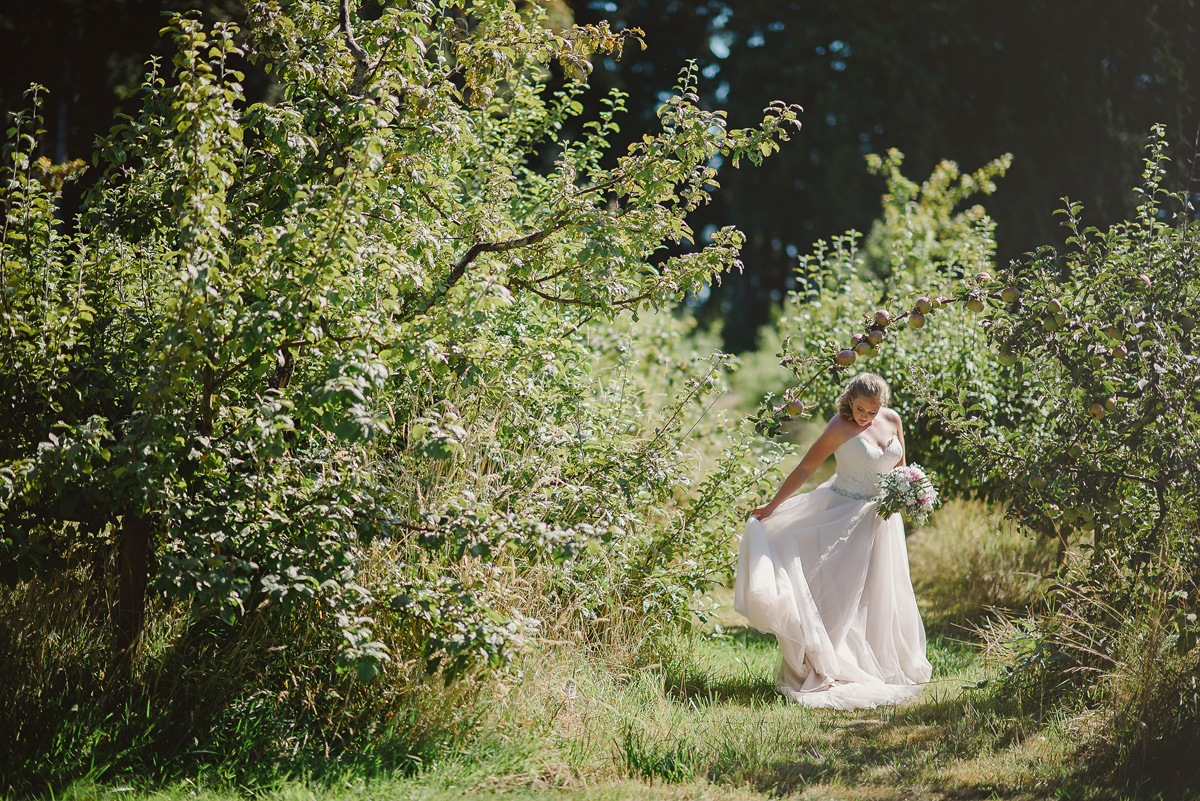 bride in orchard
