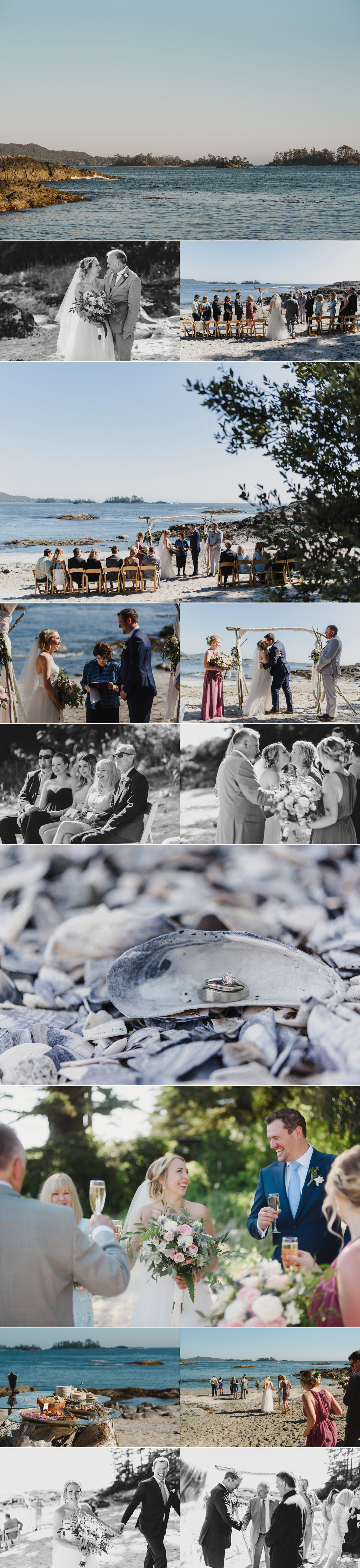 Wickaninnish Inn wedding, shell beach, elopement, tofino, intimate wedding