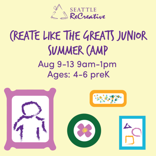 Create Like the Greats Junior Summer Camp, Aug  9-13
