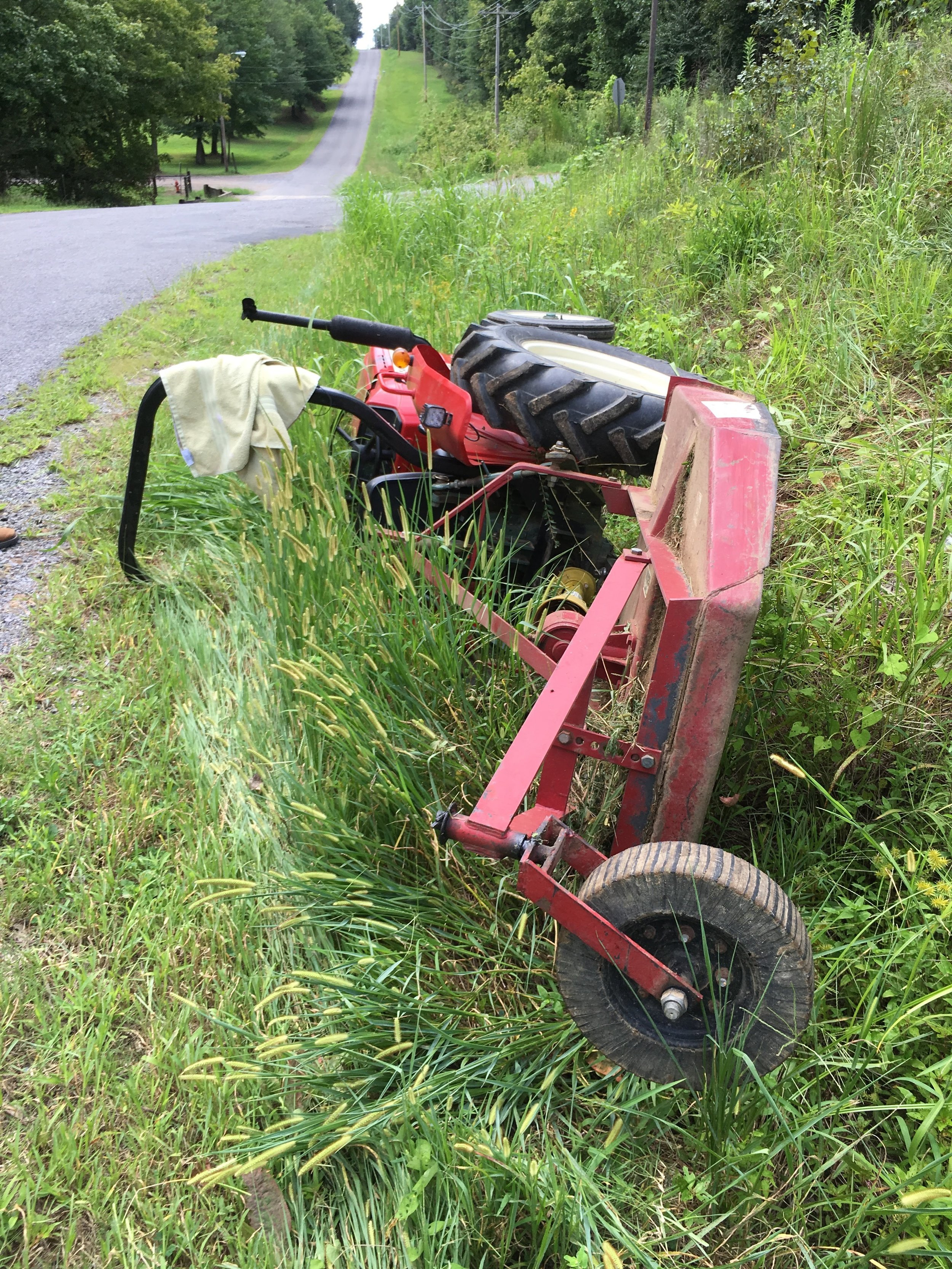 This Yanmar stopped on its side, thanks to a ROPS.