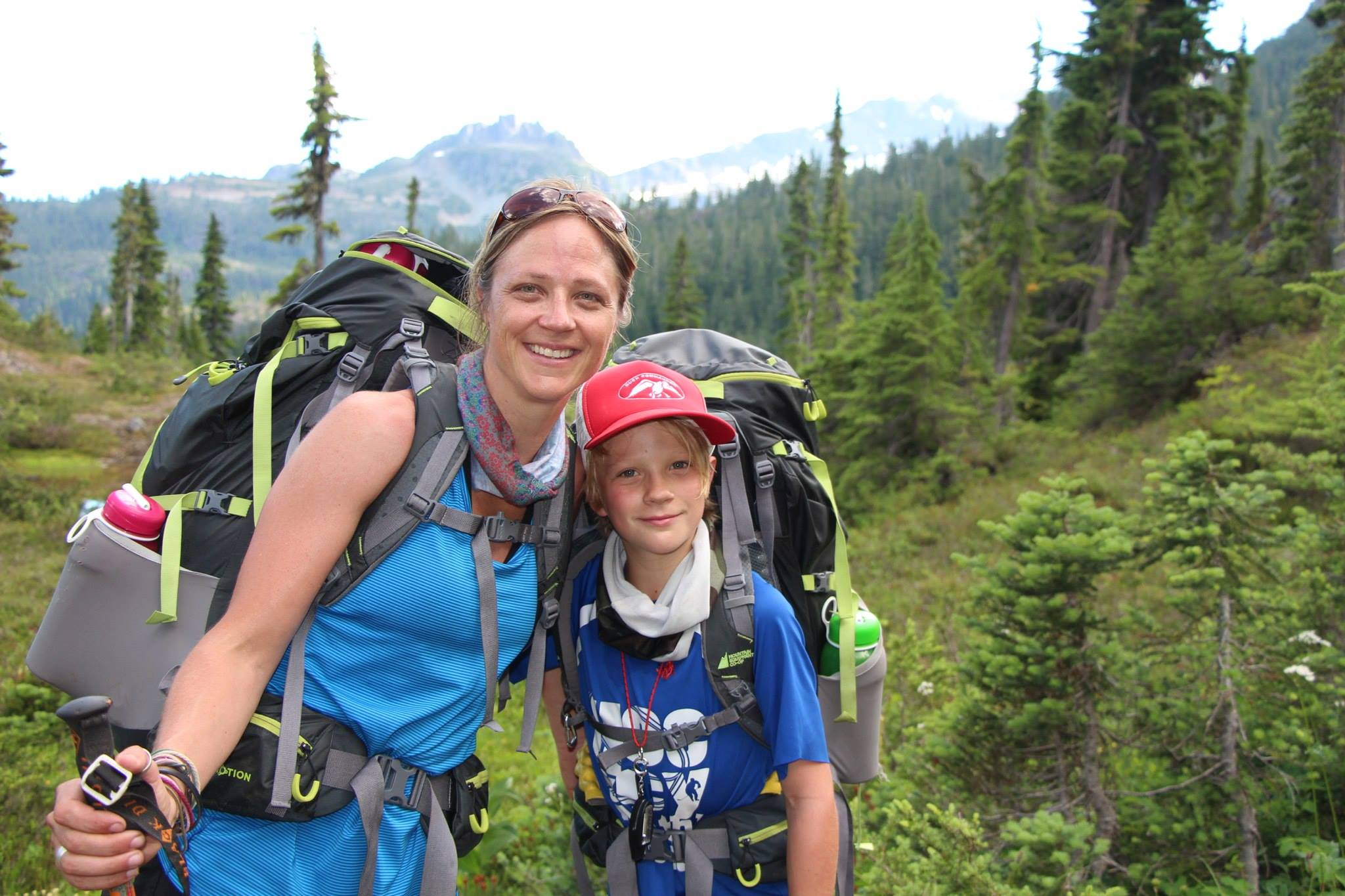 Kristy with her son in the subalpine meadows