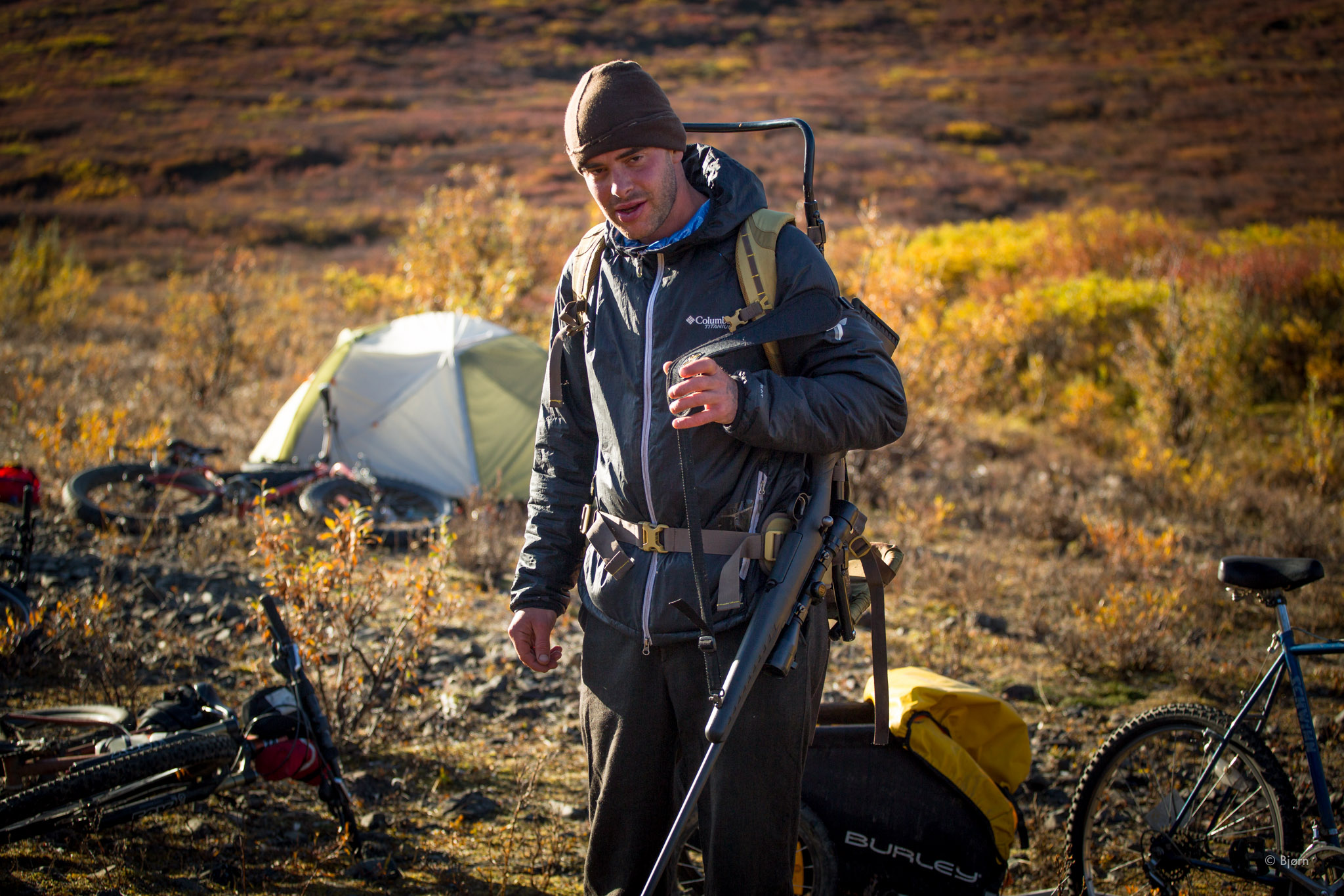 Brian Schuch prepares to leave camp for the day in pursuit of caribou.