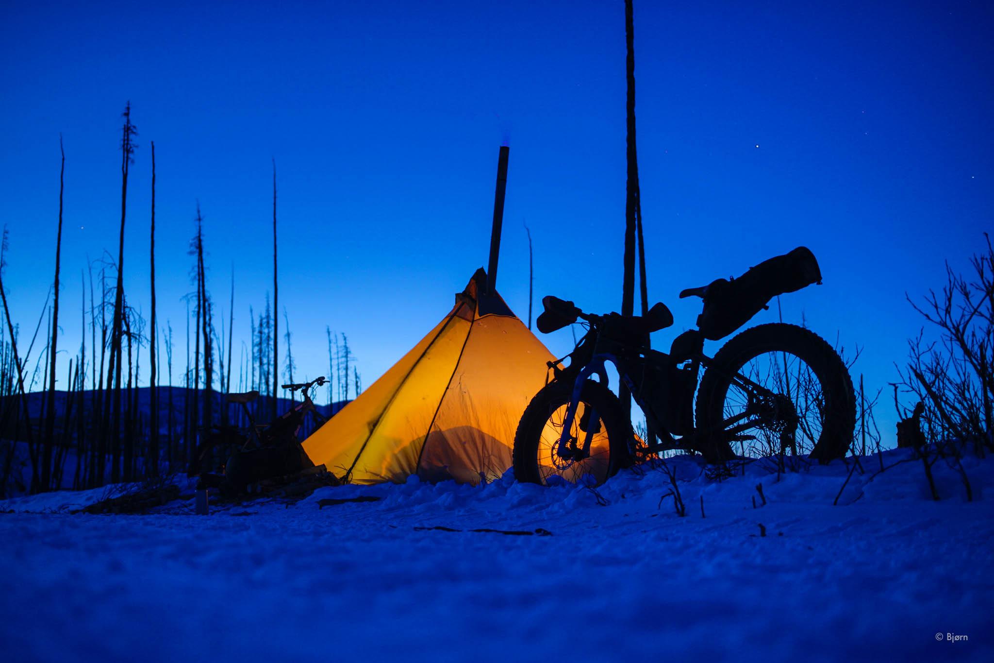 Winter bike camp - Caribou Hills.