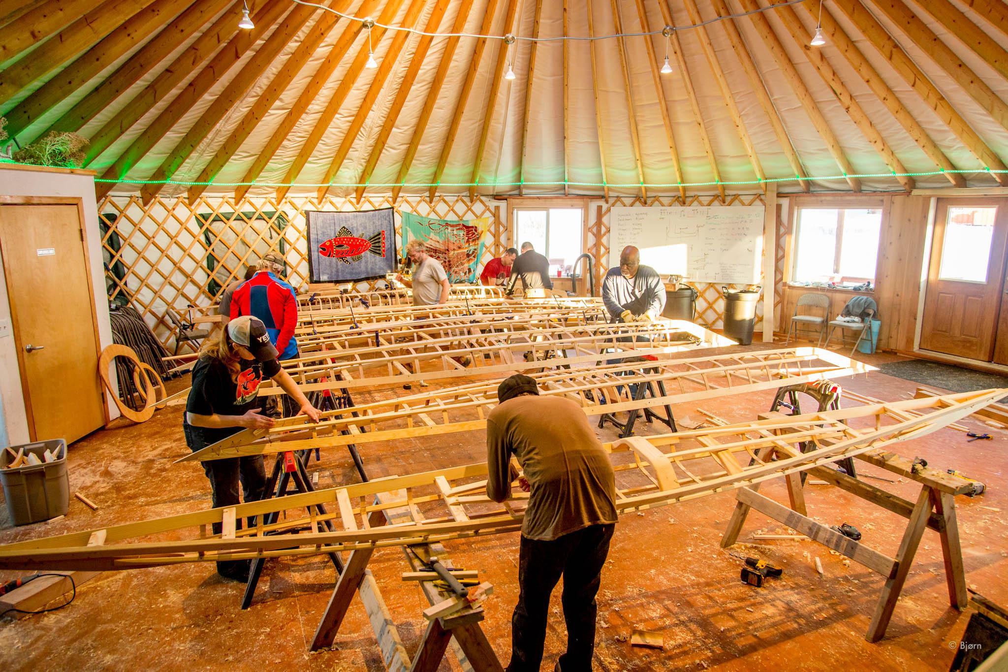 Traditional qayak building with Maligiaq - Homer, Alaska.