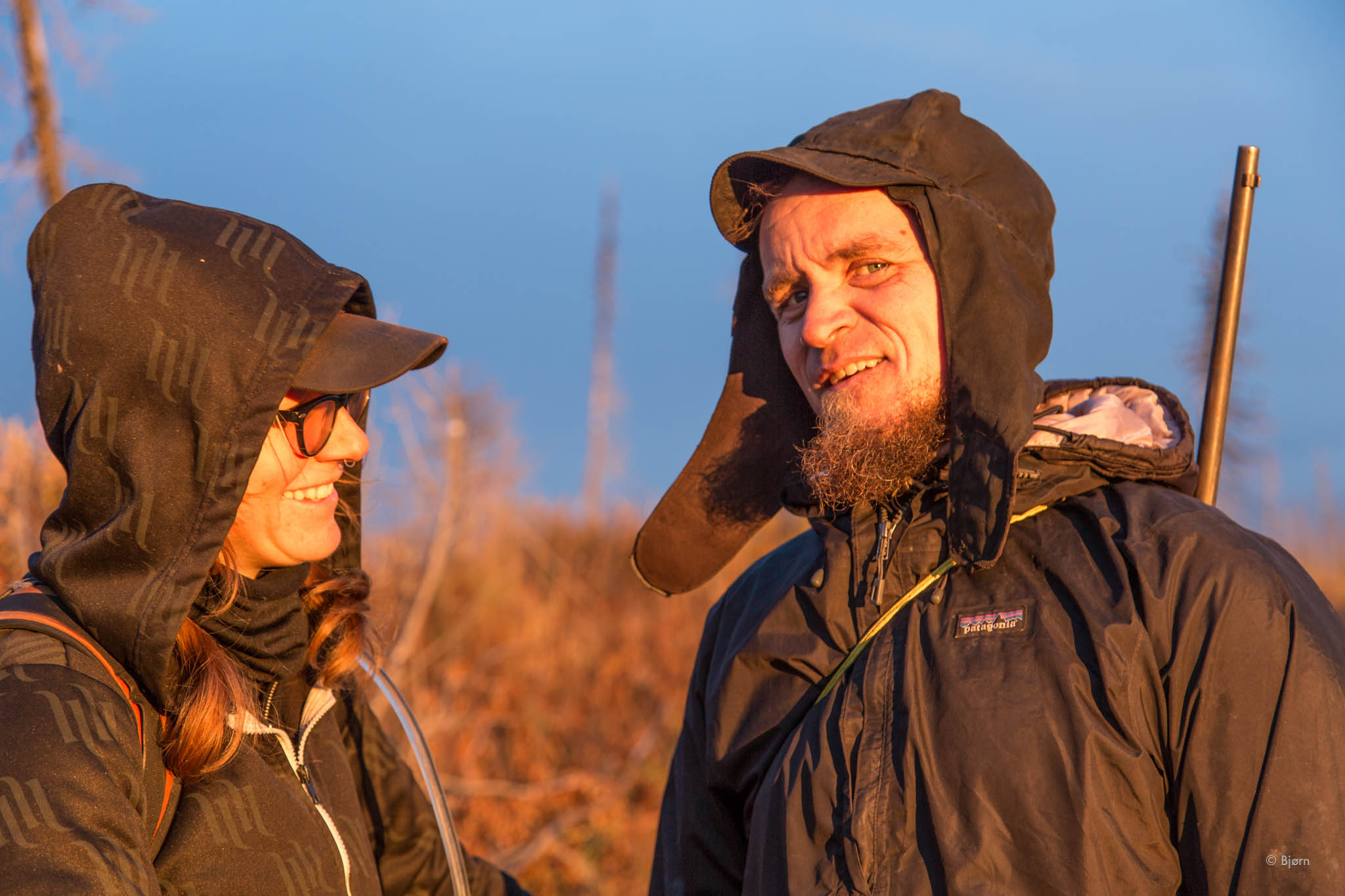 Margaret and Bjørn pause for sunset - Caribou Hills, Alaska.