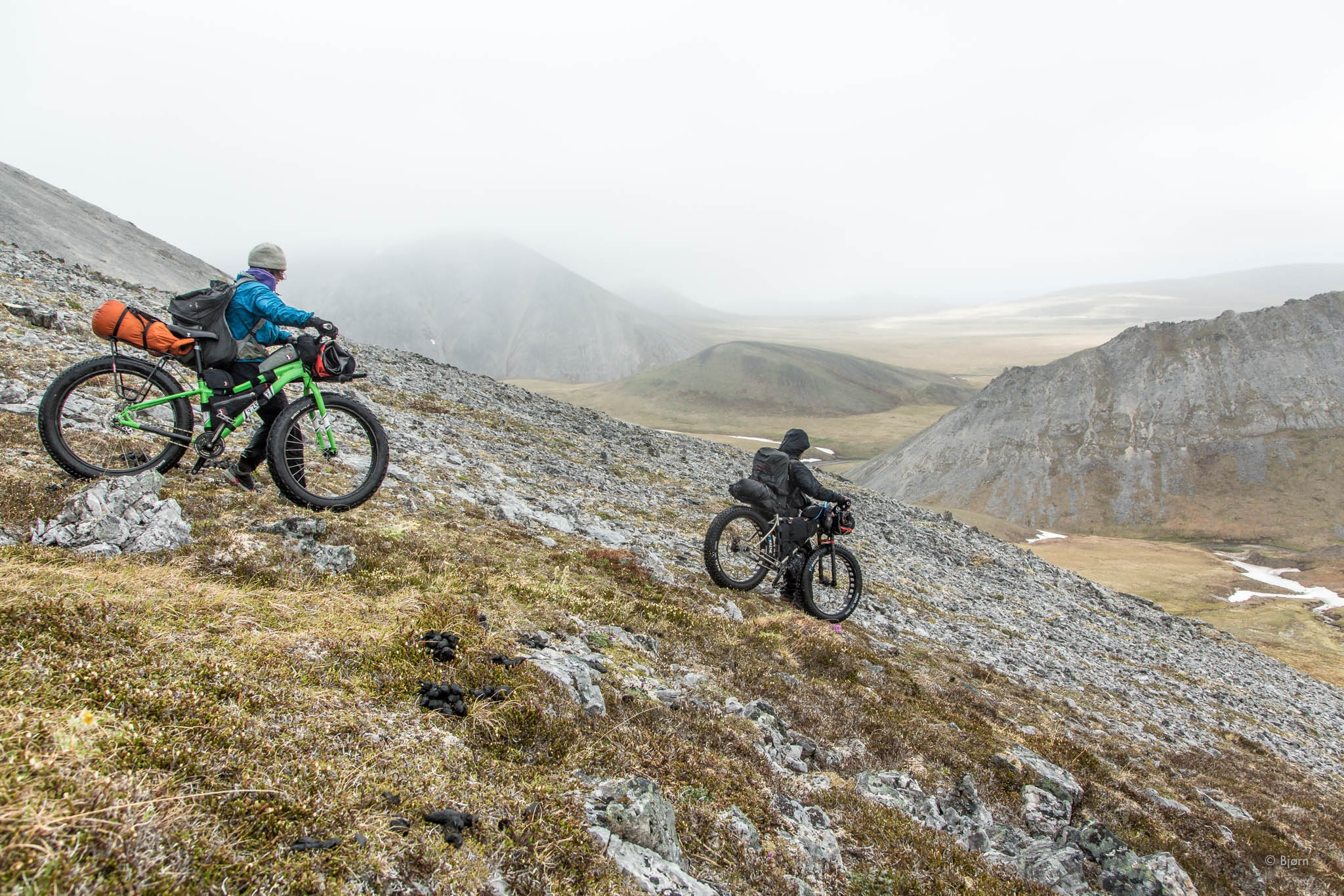 Alayne and Daniel cross the Lisburne Hills - Arctic Alaska.