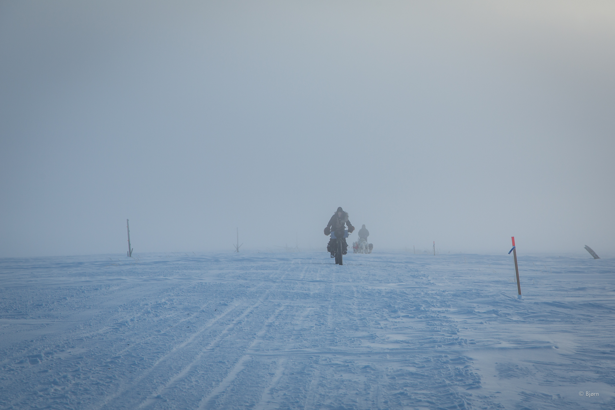 For a brief moment, Kim and I were able to ride back to Nome. That didn't last long.