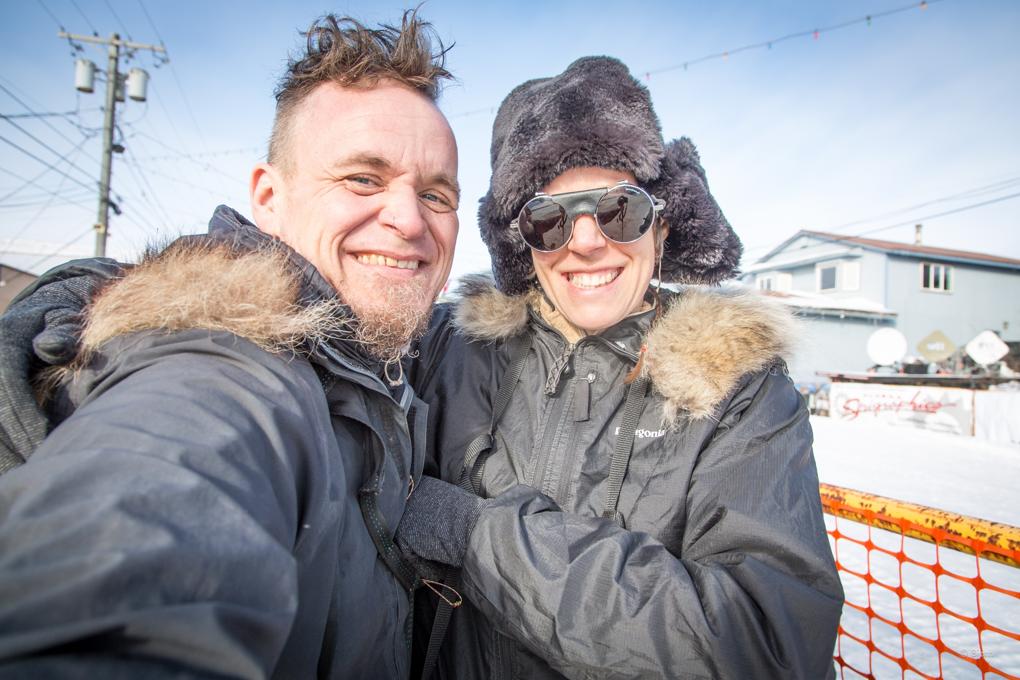 Kim and I snap a selfie near the Iditarod finish. Our plan was to spend a couple days taking in the scene of the Last Great Race. We were just in time to see Pete Kaiser come in 5th.