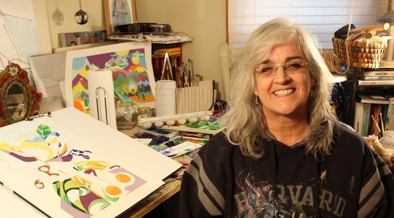 Varón in her studio
