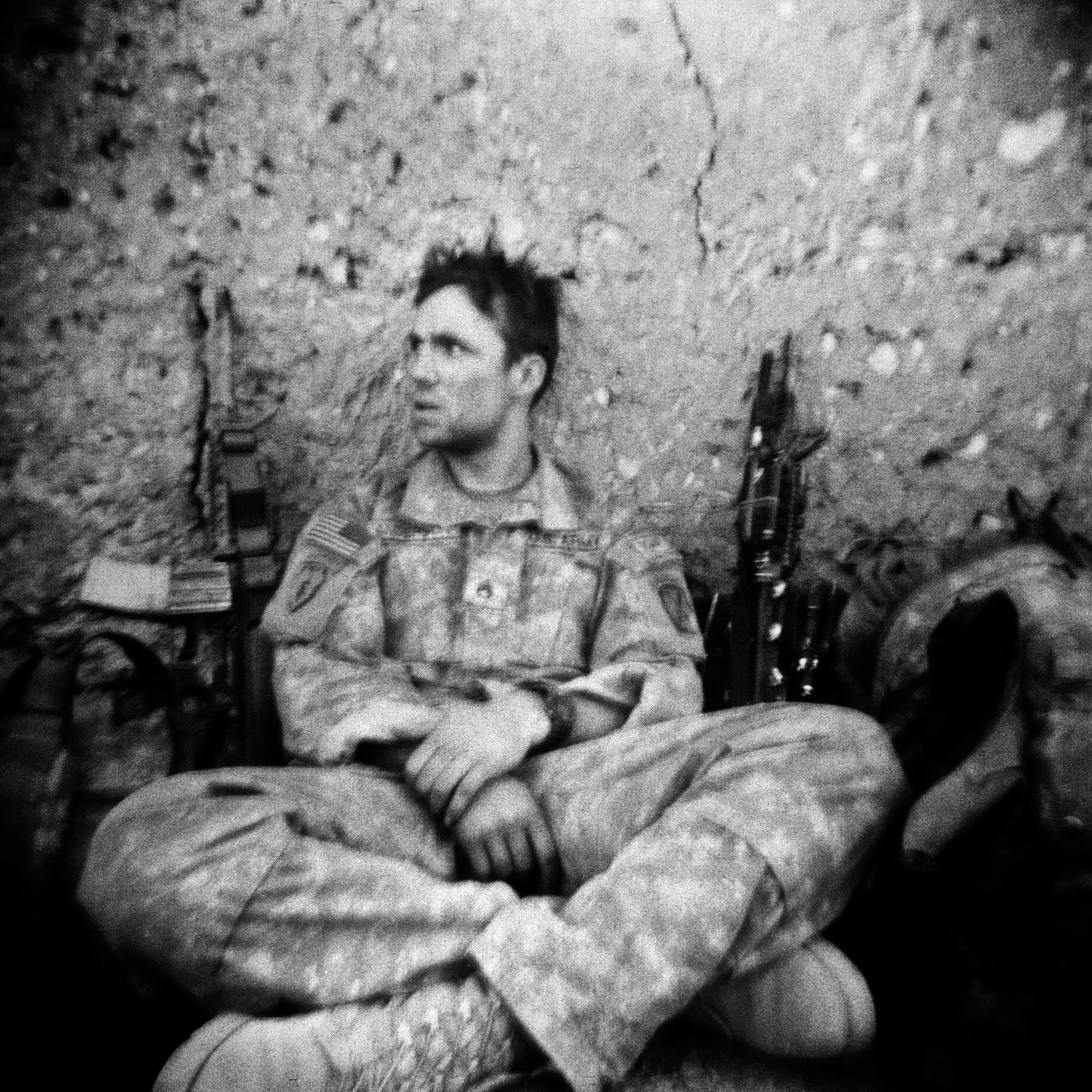 SSG Cody Anderson is exhausted after a patrol in the Tangi Vally, Wardack Province.