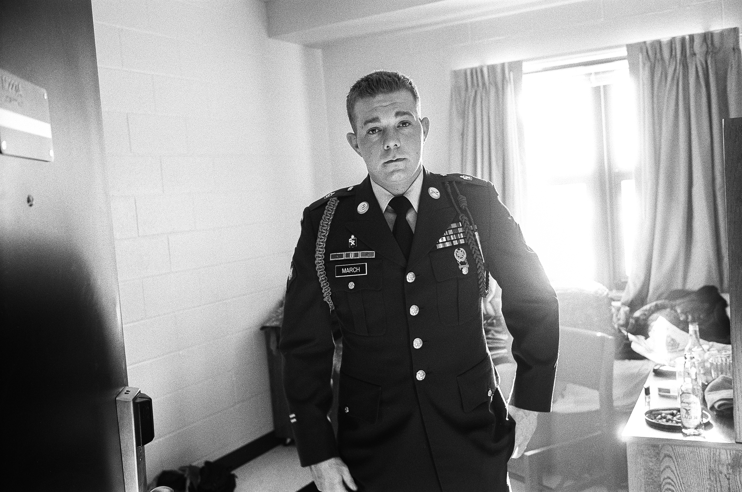 SPC James March wears his Class A uniform before going home on leave, January, 2010. After serving in Afghanistan March suffered from depression and in February 2015, at age 31, he took his own life in Painesville, Ohio. March loved animals, music, and spending time with his brothers.