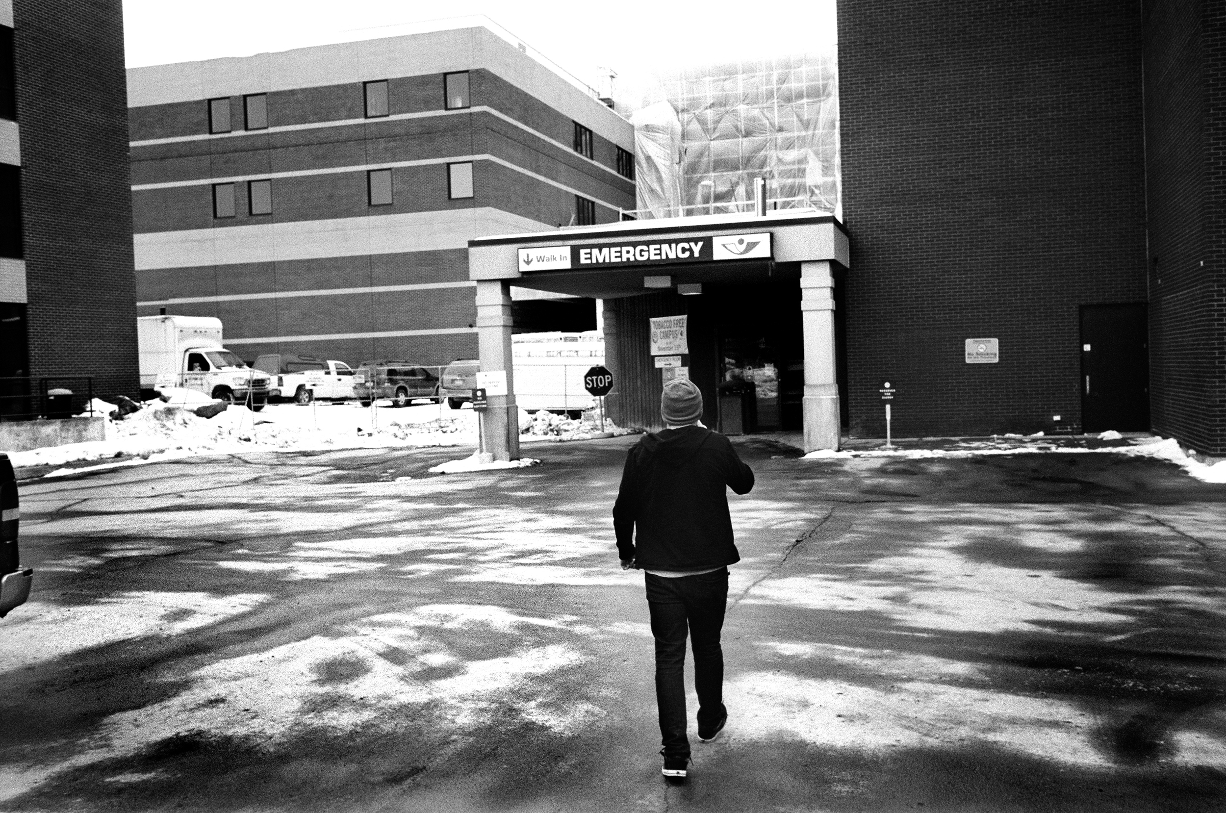 SPC Adam Ramsey checks himself into a hospital after seriously contemplating suicide in Watertown, New York, 2010. Ramsey was diagnosed with PTSD and schizoaffective disorder at a military hospital in Afghanistan, but was sent back to his combat post to continue his deployment. Back at his combat post he overdosed on prescription pills and was revived by a medic.