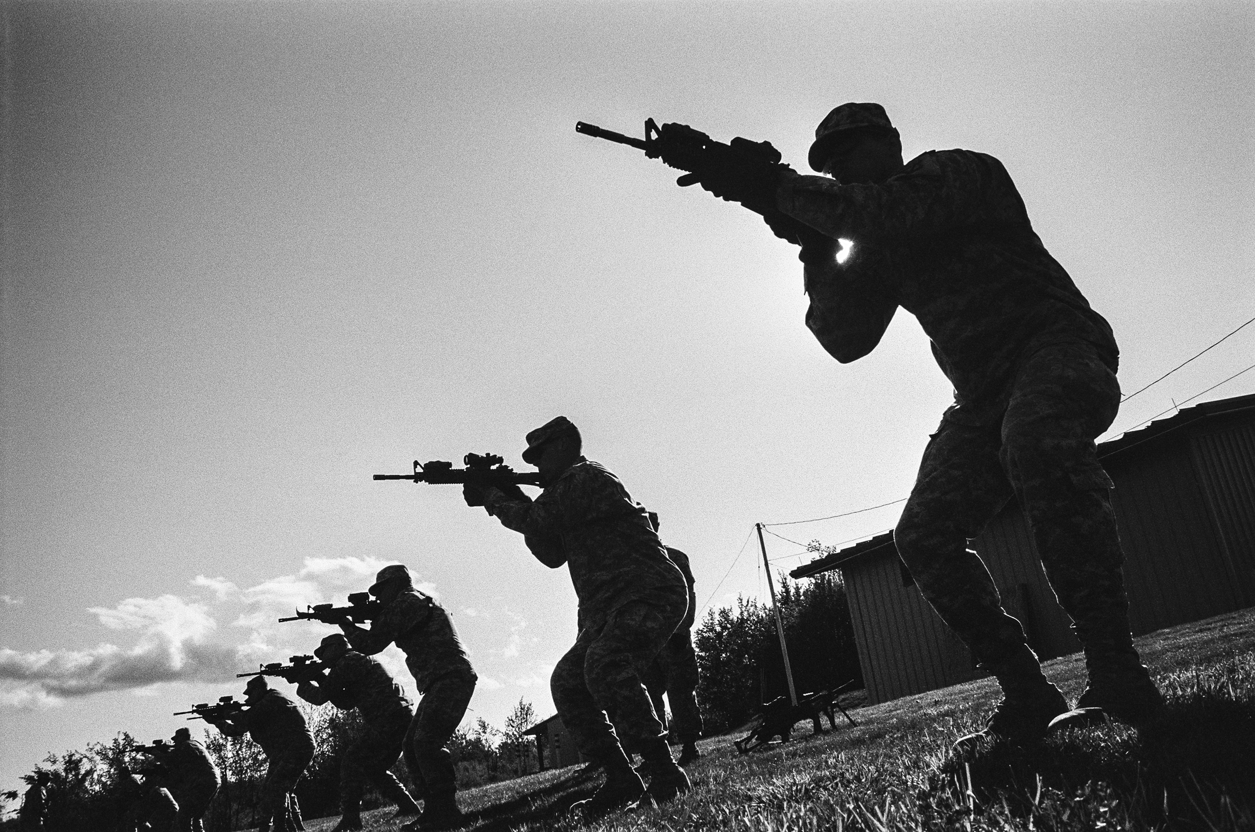 Soldiers participate in training drills at Fort Drum, New York, 2010.