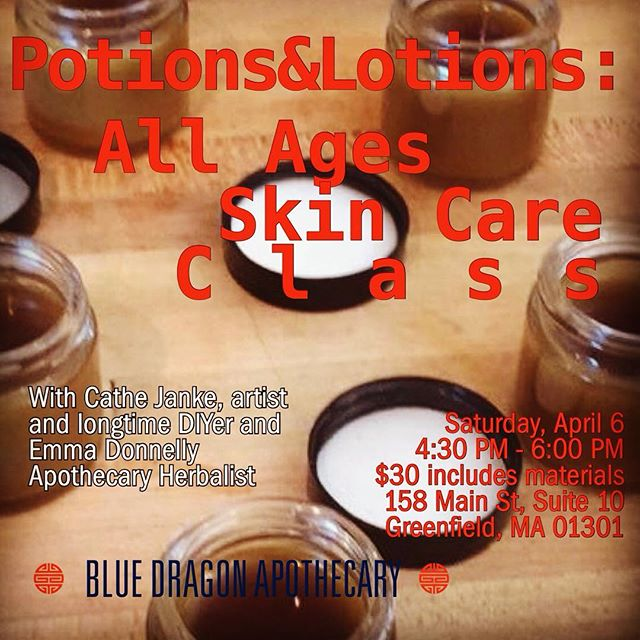 Hi instapeople, we are doing another DIY skin care class!PLEASE PRE-REGISTER on or before 4/4/19 by emailing info@bluedragonapothecary.com.  You will learn how to make a creamy lotion, a nutrient dense eye cream, serums, and easy exfoliating scrubs. You'll find there are many ways to reduce, reuse, and recycle from teas and kitchen products, and even how to make leftover products last longer!  You'll go home with sample skin care products and recipe ideas. #herbalmedicine #bluedragonapothecary #diyskincare #skincare #herbalhealing #macacream