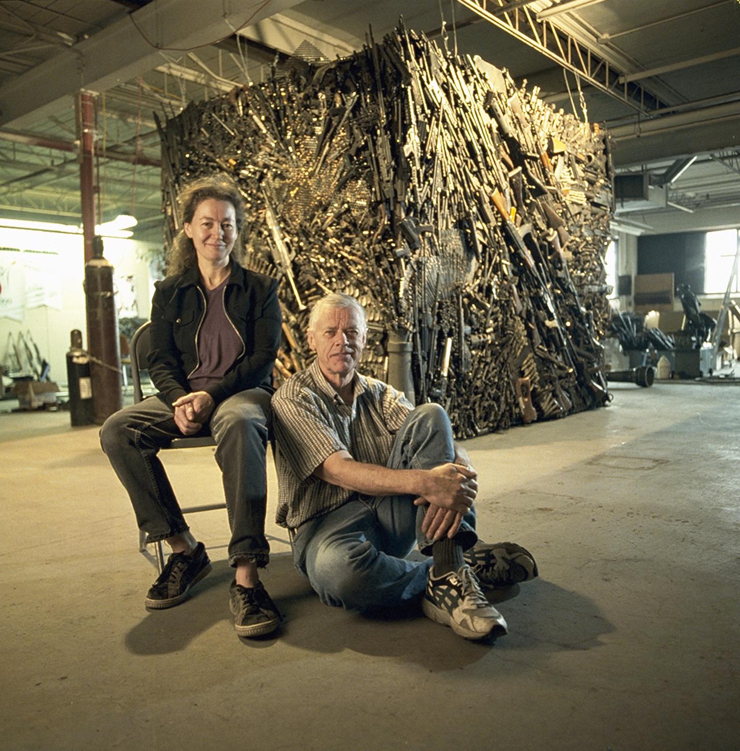 Wallis and Sandra in the original Gun Sculpture Studio.
