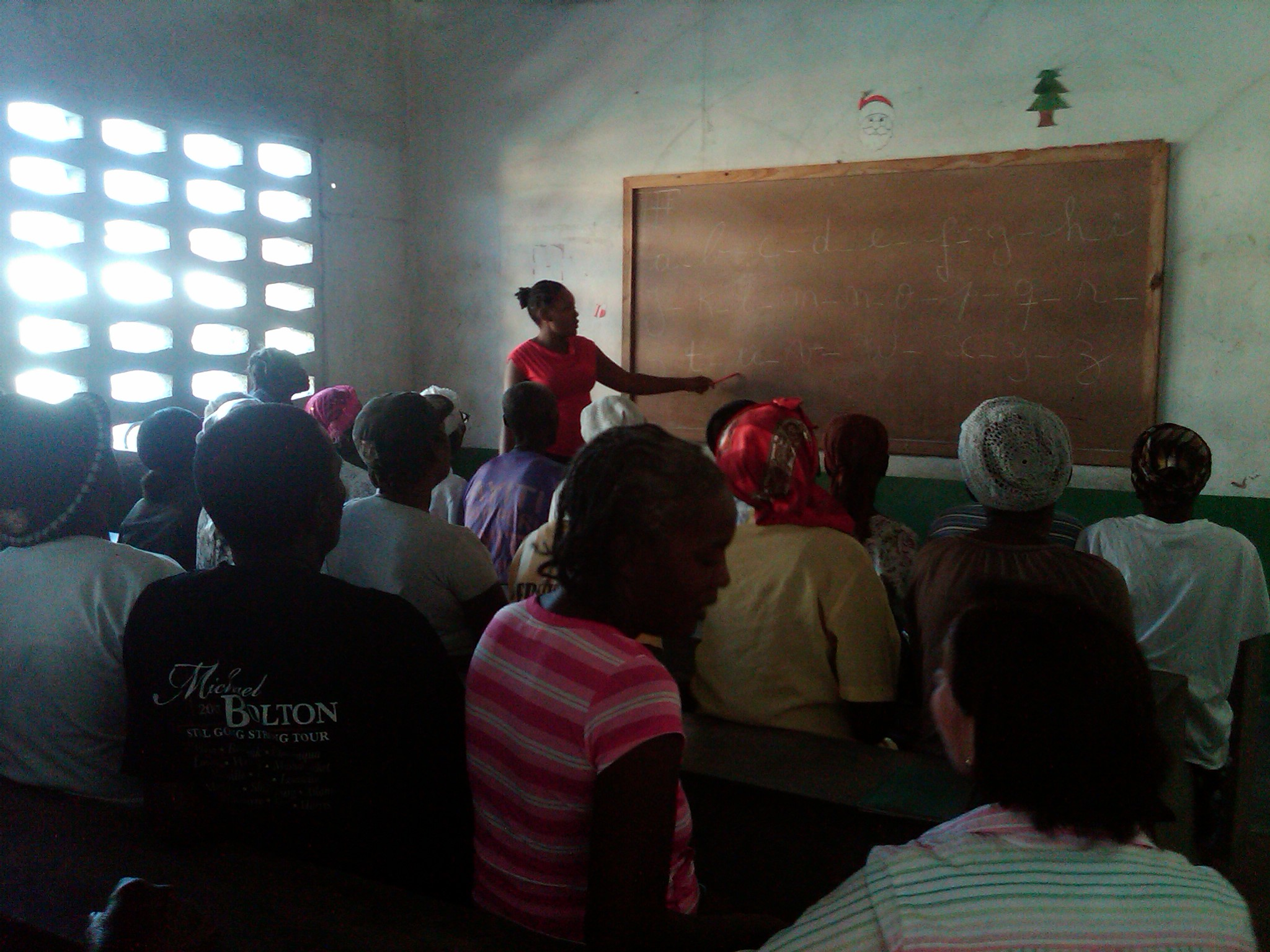 Elderly literacy classes after their daily meal