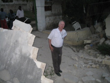 Fr. Tom Hagan, minutes after the earthquake struck.