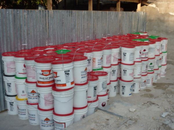 Food buckets ready for distribution