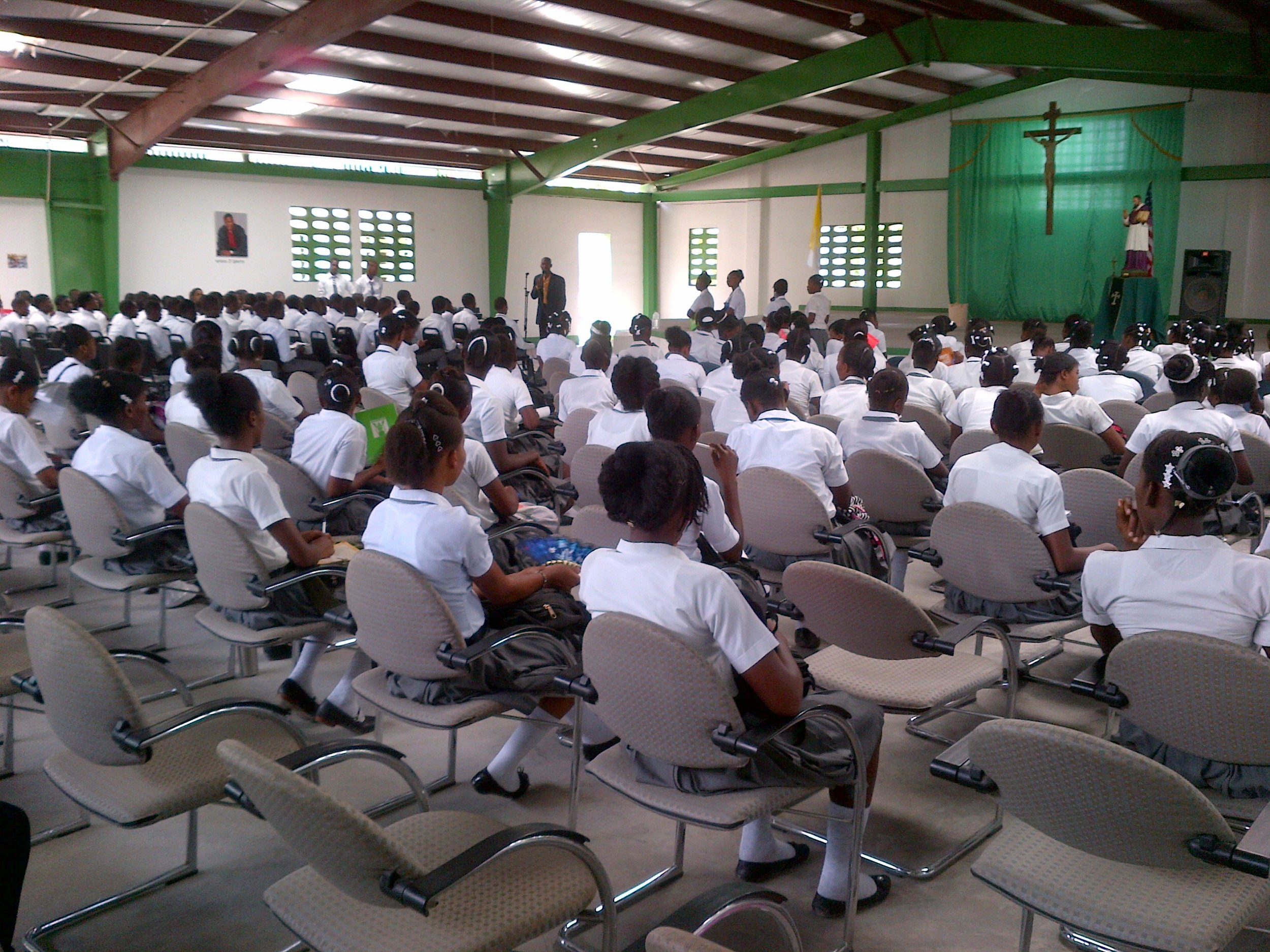 Dr Fanfan holds an assembly for the high school students.
