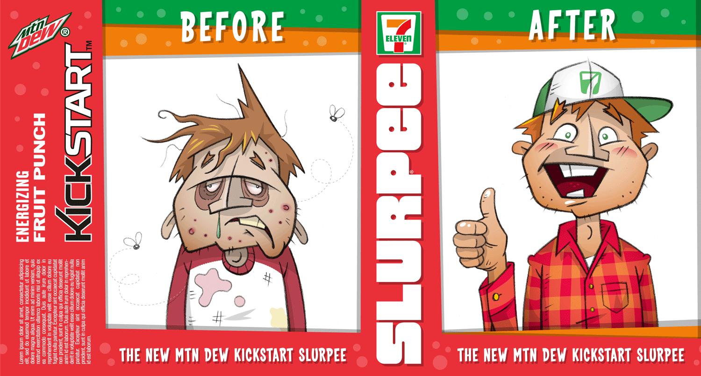 Cup design for Mtn Dew's New Kickstart Slurpee at 7-11