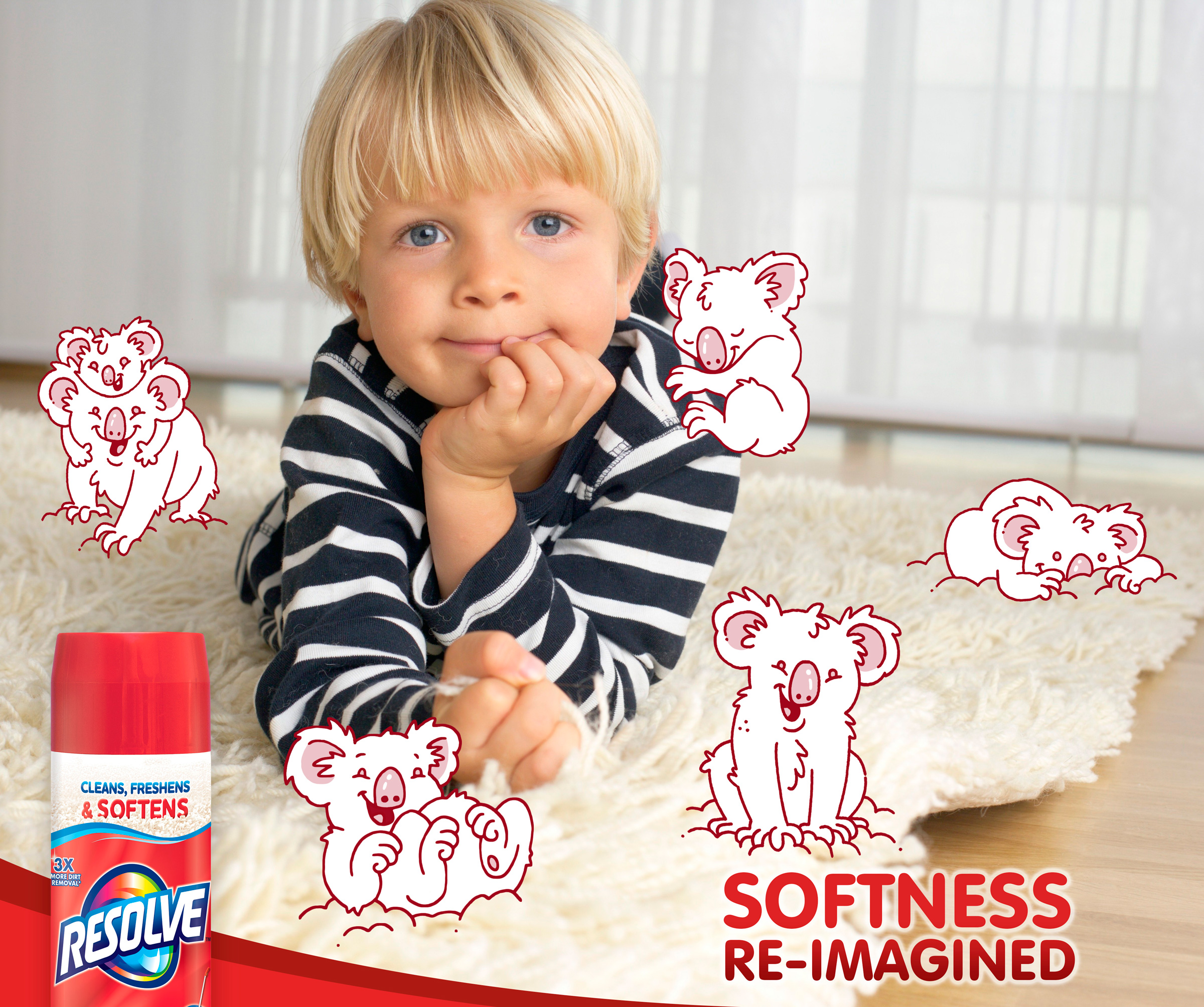 Your kids might think cuddly koalas crawl across the carpet to soften the carpet. But you know it's Resolve. The new formula cleans, freshens, and now SOFTENS your carpet.