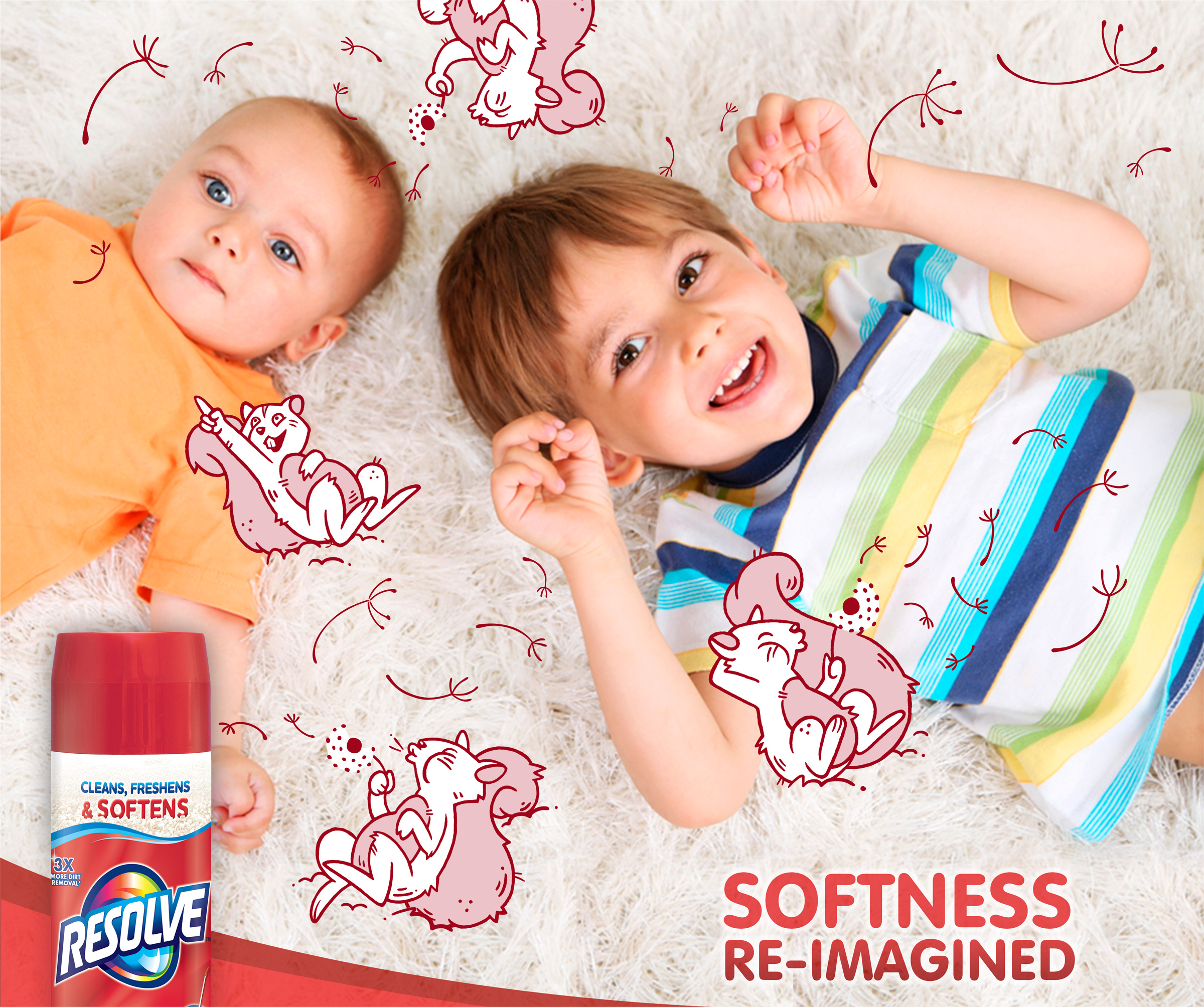 Your kids might think bushy-tailed squirrels blowing dandelions soften the carpet. But you know it's Resolve. The new formula cleans, freshens, and now SOFTENS your carpet.