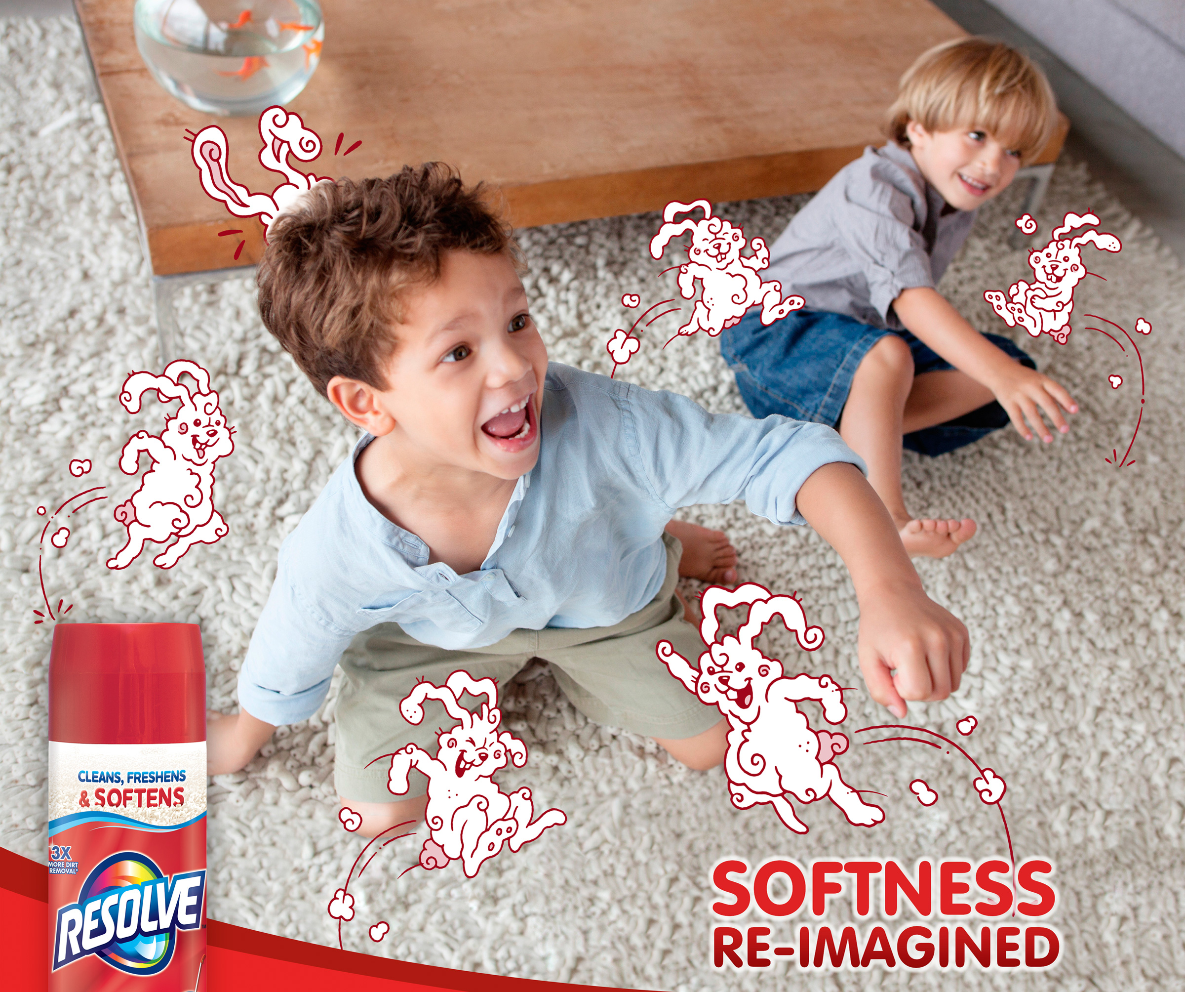 Your kids might think cotton candy bunnies hopping around soften the carpet. But you know our new formula cleans, freshens, and now SOFTENS your carpet.