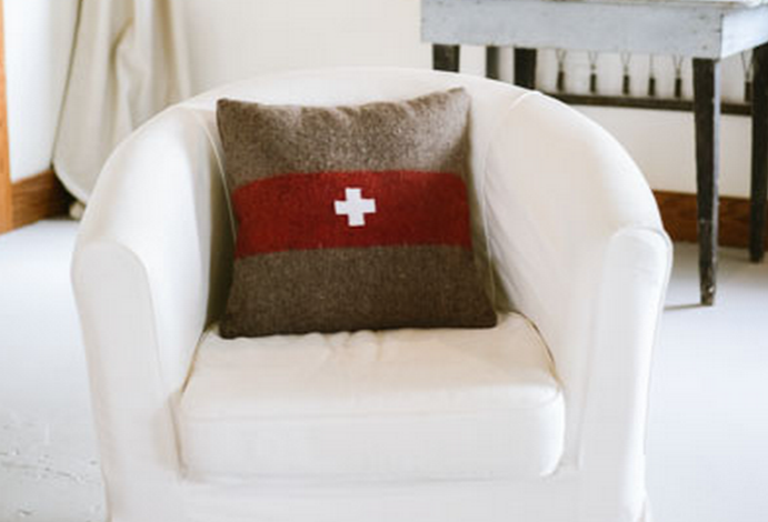 Swiss Army Throw Pillow, available at The Vintage Round Top Online Shop