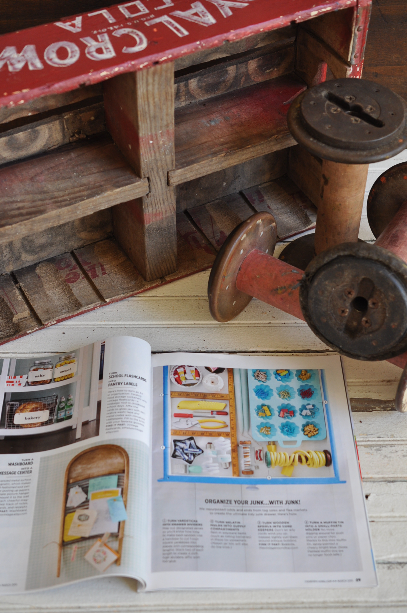 The Vintage Round Top merchandise featured in Country Living Magazine Mar 2015