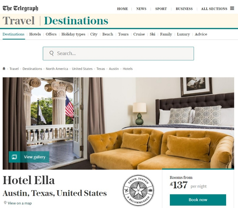 HOTEL ELLA IN THE TELEGRAPH, THE VINTAGE ROUND TOP