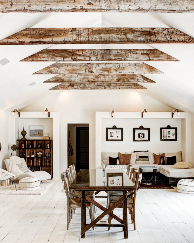 Recycling the Past - One of our favorite sources for reclaimed materials, Recycling The Past, provided these wooden beams to serve as the focal point for our Boho Great Room.