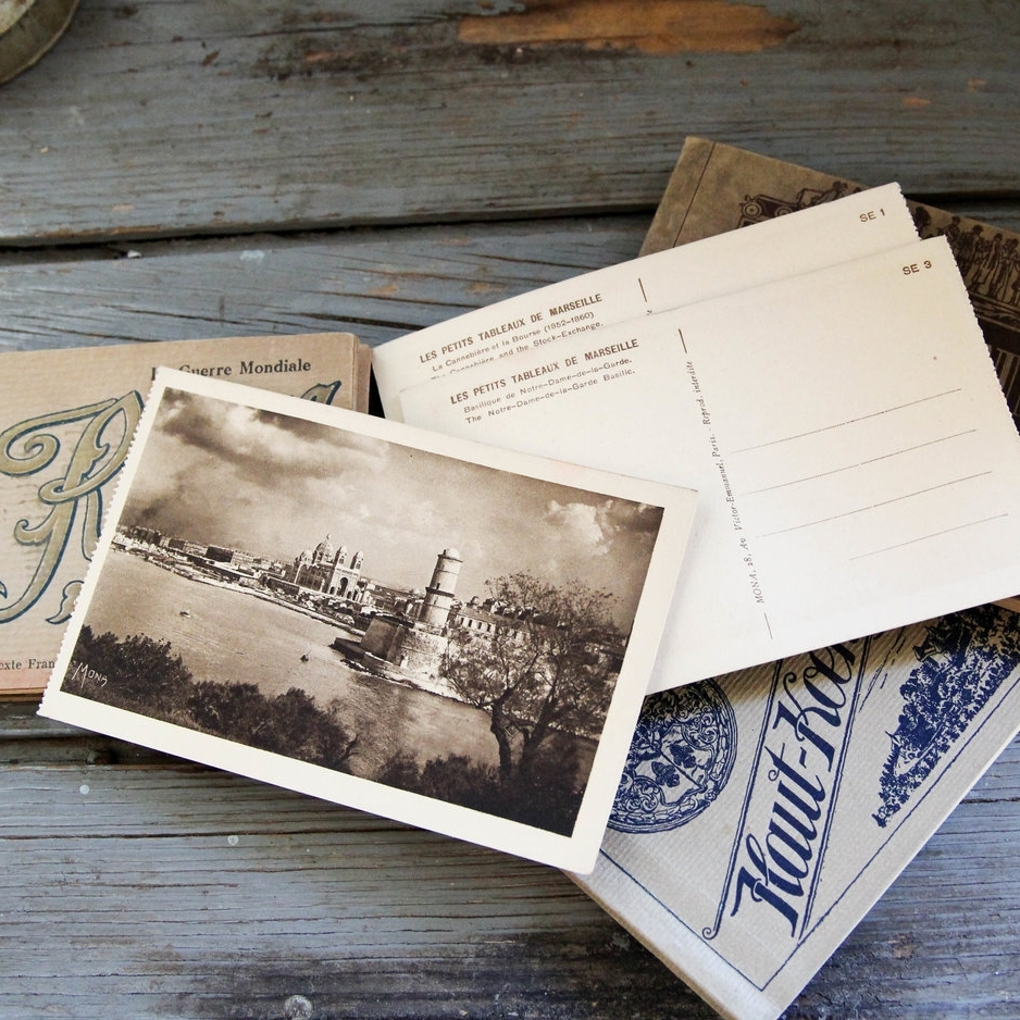 for the traveler - French vintage postcard books$36