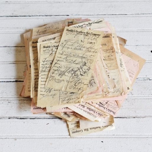 Hat Repair Tickets - $8 | Set of vintage hat repair tickets from Schudde's Southern Hat Company. Dated around 1931. Dimensions of tickets: 3.5 in x 7.5 in, approx. Each ticket includes handwritten notes, stamps, and are 100% unique.