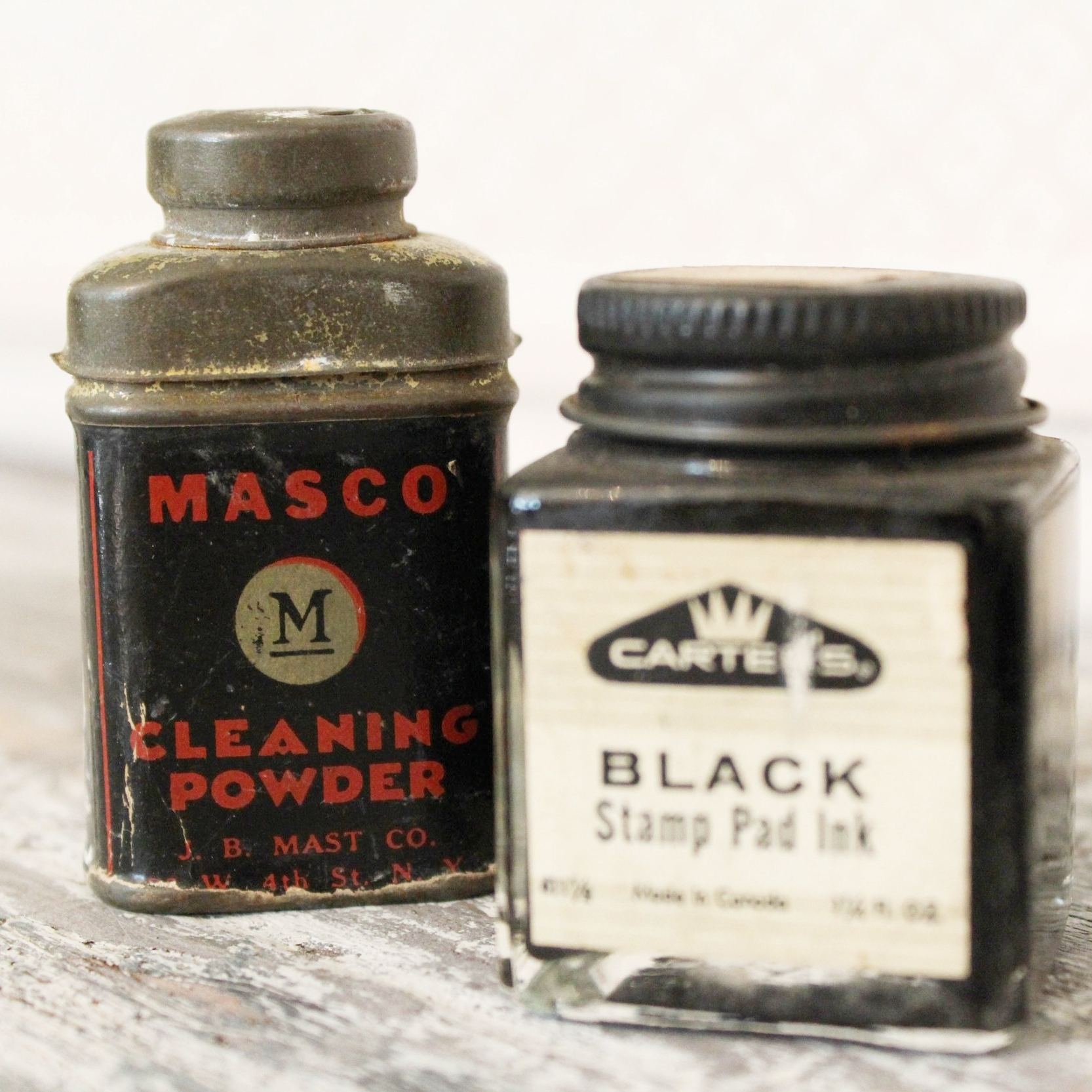 Ink Bottles (set of 2) - $16 | A set of bottles from the Shudde Bro. Both are in vintage condition and show signs of aging which only adds to their unique character.Bottles Include: CARTER'S Black Stamp Pad Ink and MASCO Cleaning Powder