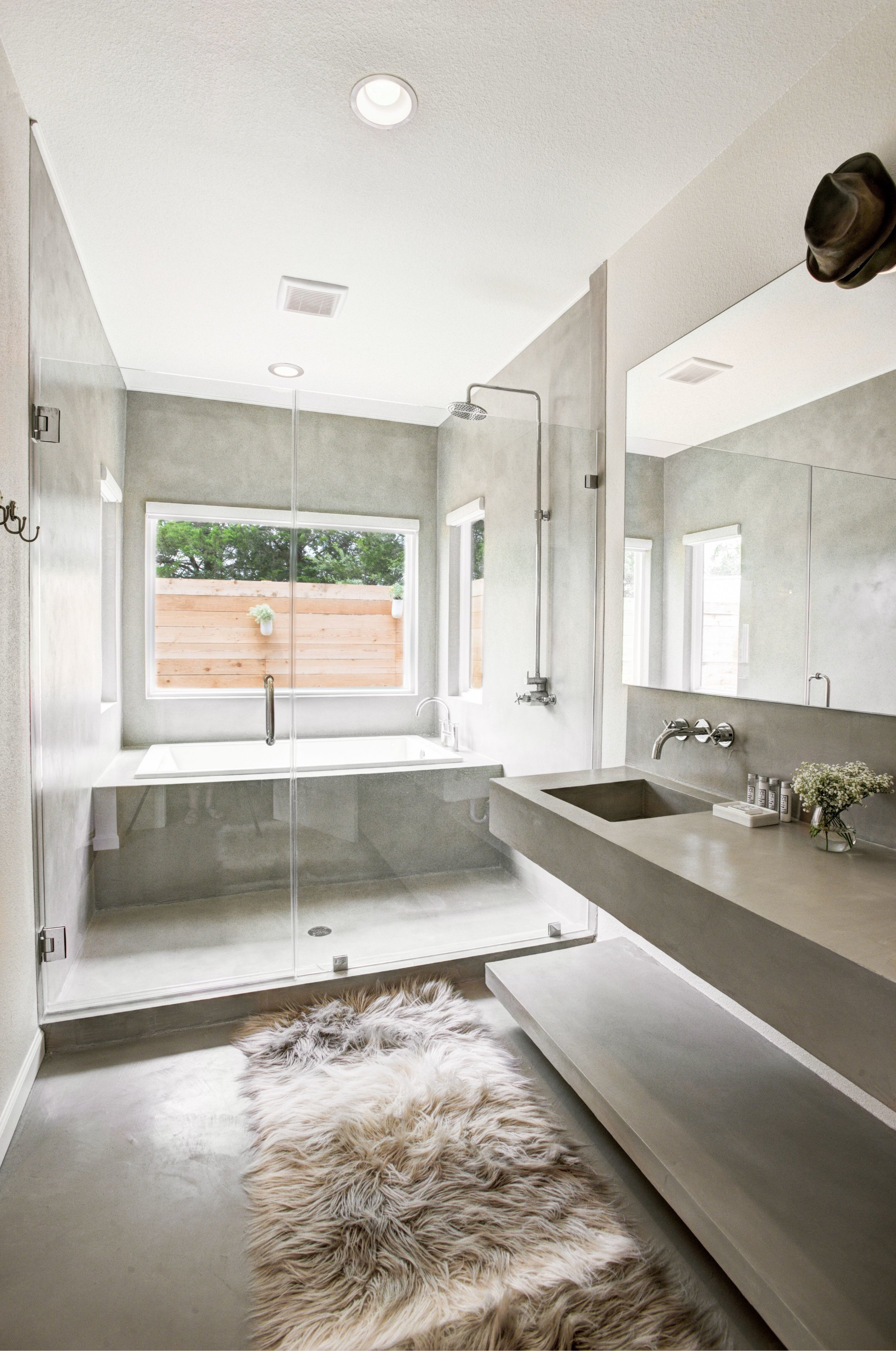 The Boho master bath features a soaking tub and separate shower.