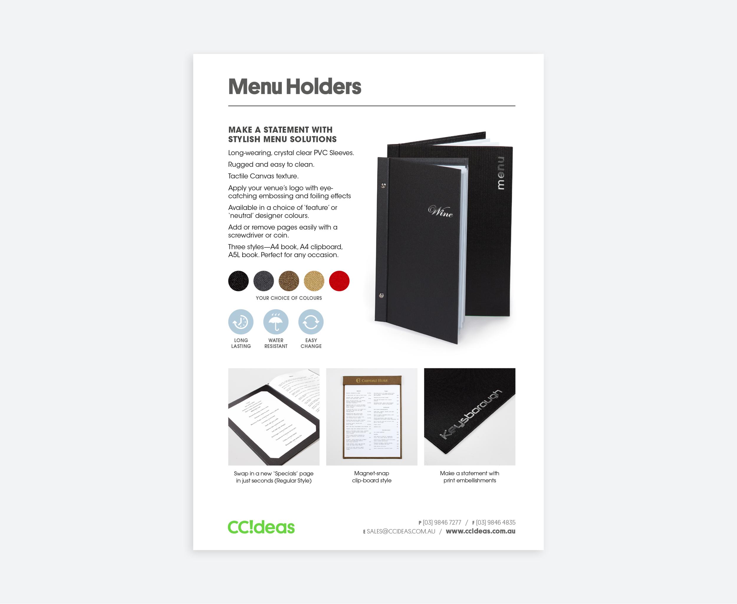 CCideas Sell-sheet (Menu Holder)