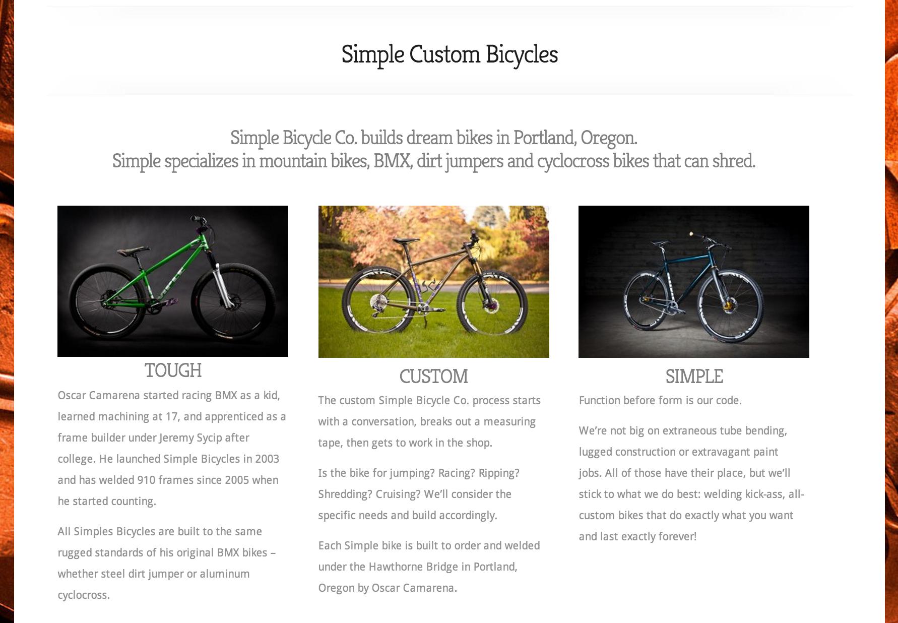Simple Custom Bicycles