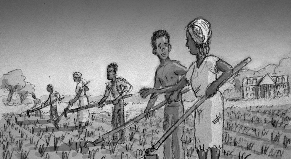 Guinea Sam as a slave on a rice plantation in South Carolina