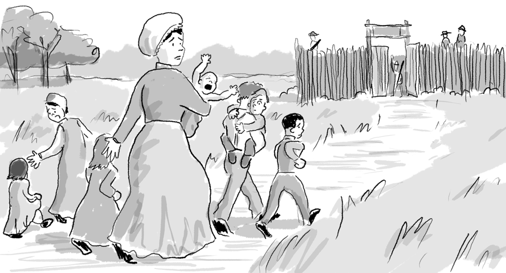 Olive and her (at the time) seven children rushing to a fort during an Indian raid.