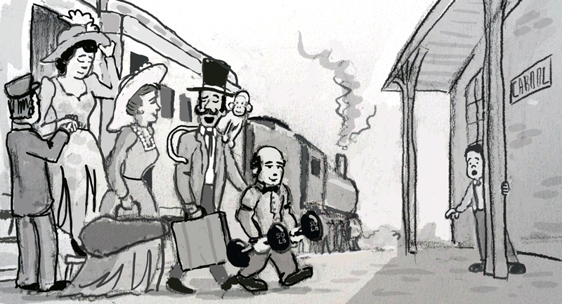 Emmett as a boy watching with wonder as a vaudeville troupe disembarks at the Cabool station.