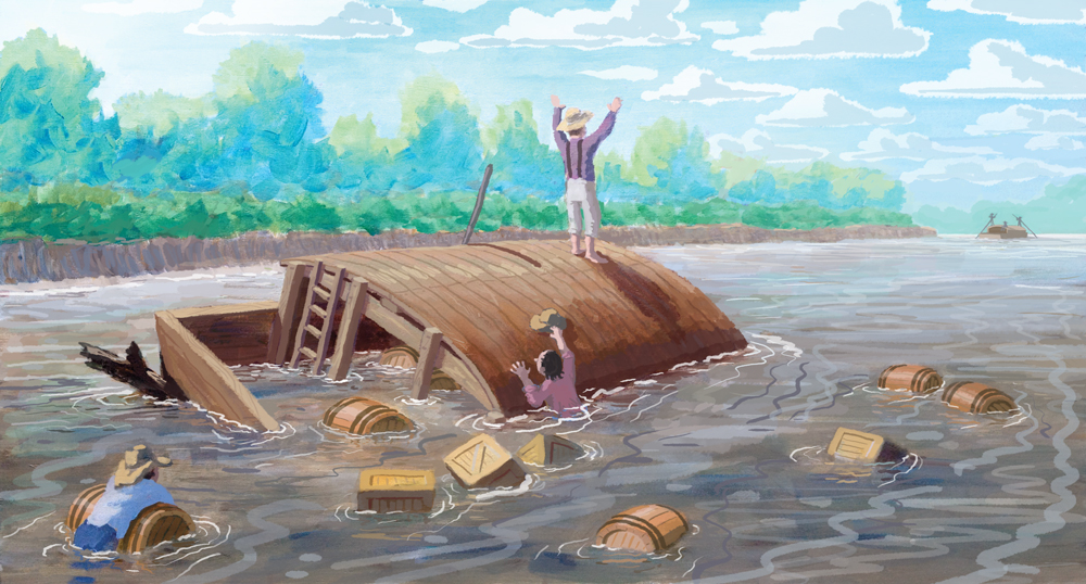 This is the final art showing Joseph Kinney's wrecked flatboat.