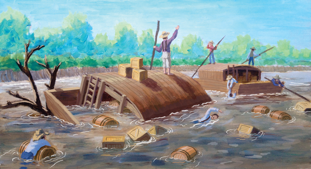 Here is the first version of the flatboat wreck with another boat helping out.  While I do like the commotion of this one, Joseph looks a bit too calm. Like he's asking the other captain how his corn crop is coming along or something.