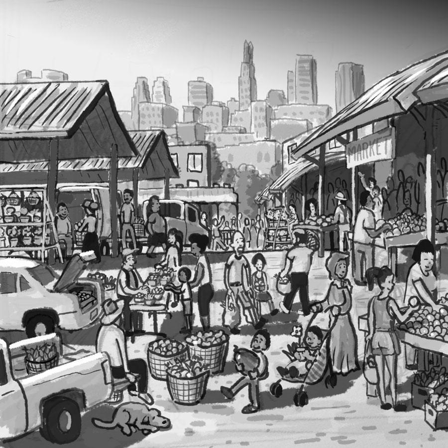 Rough sketch of market