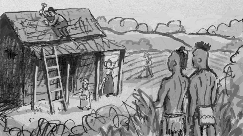 Alternate rough sketch showing the tension between the new settlers and the Native Americans.