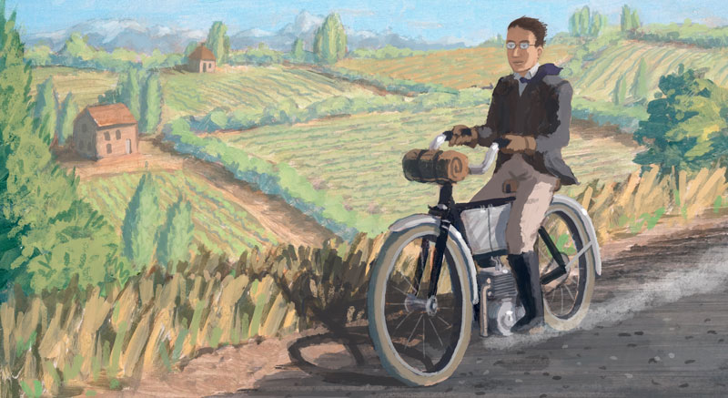 Albert riding an early motorcycle through the french countryside