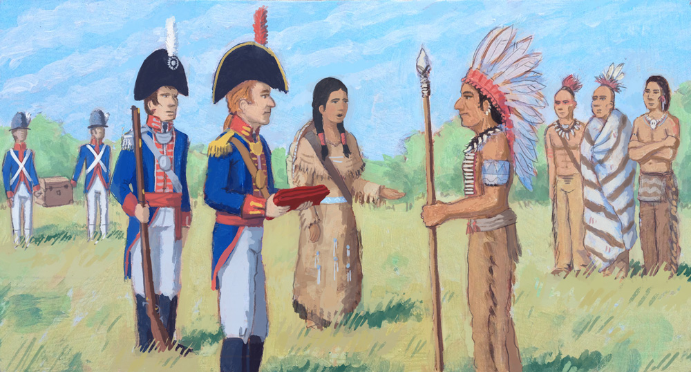 William Clark, Meriwether Lewis and their interpreter, Sacagawea, meet with Native American tribes on their journey up the Missouri.