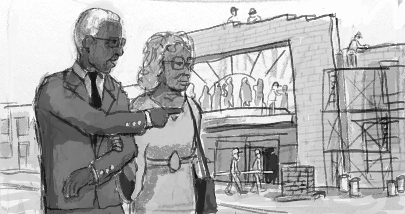 Alternate rough sketch showing Buck and his wife, Ora,observing the construction of the Negro League Museum in Kansas City.