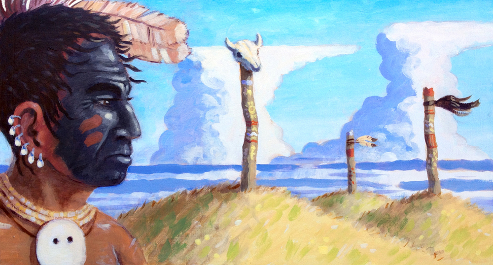 These are some of my favorite background clouds. Here I think they worked to show uncertainty.The subject, Great Walker, has painted his face black to mourn a treaty that gave the government land where his people's ancestral burial grounds were located.